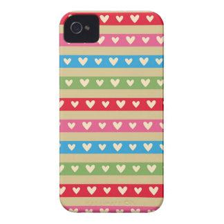Retro hearts candy striped Fair Isle fairisle Case-Mate iPhone 4 Cases