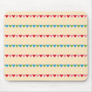 Retro hearts candy striped Fair Isle pattern Mouse Pad