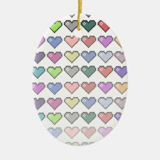 Retro Hearts Ceramic Ornament