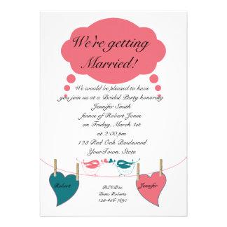 Retro Hearts Clothesline Bridal Shower Invitation