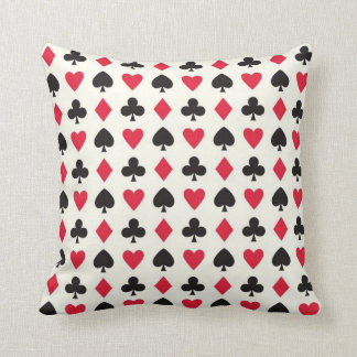 Retro Hearts Diamonds Spades & Clovers Pillow