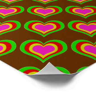 Retro Hearts ~ Gift Wrapping Paper 16x12 COLOR OPT Poster