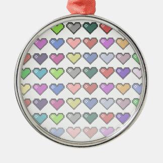 Retro Hearts Metal Ornament