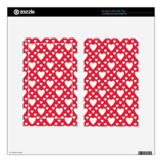 Retro Hearts on Red Background Kindle Fire Skins