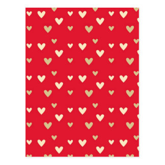Retro hearts red hot candy stripes postcard