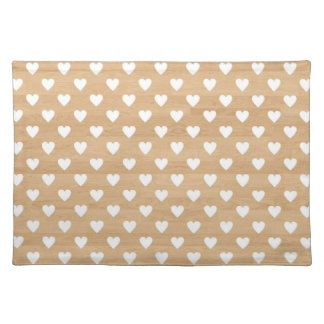 Retro hearts wood background girly heart pattern cloth placemat