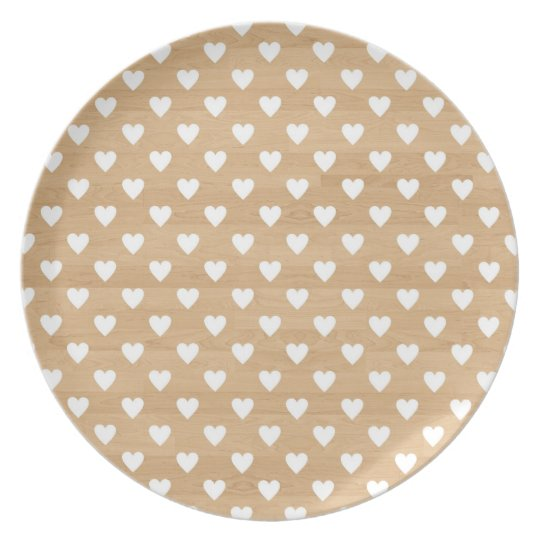 Retro hearts wood background girly heart pattern dinner plate