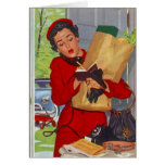 Retro Hectic Day Life Busy Lady Blank note Card