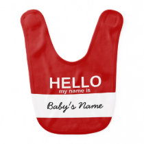 Retro Hello My Name is Tag Baby Bib