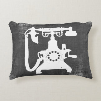 Retro Hello Telephone Pattern Accent Pillow