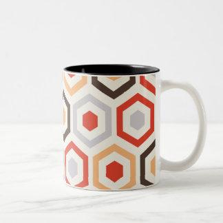 Retro hexagons mug