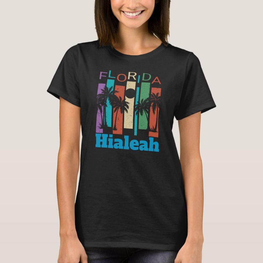 Retro Hialeah Florida Palm Tree Souvenir Shirt - Best Selling Long-Sleeve Street Fashion Shirt Designs