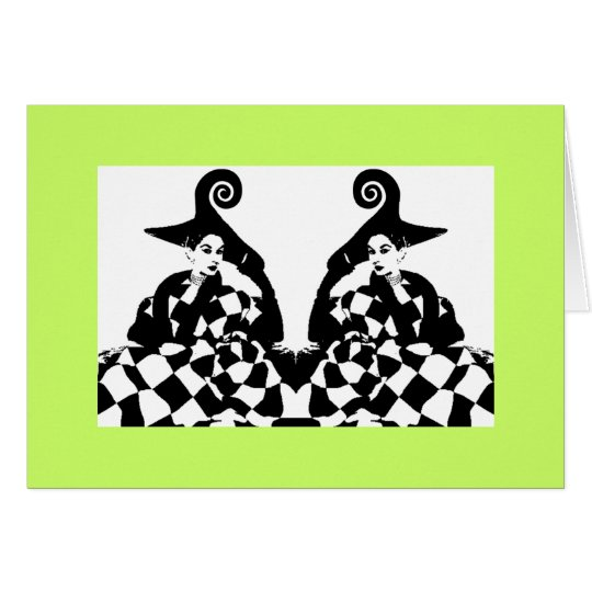 Retro High Fashion Checker Off Beat Swirl Women Card