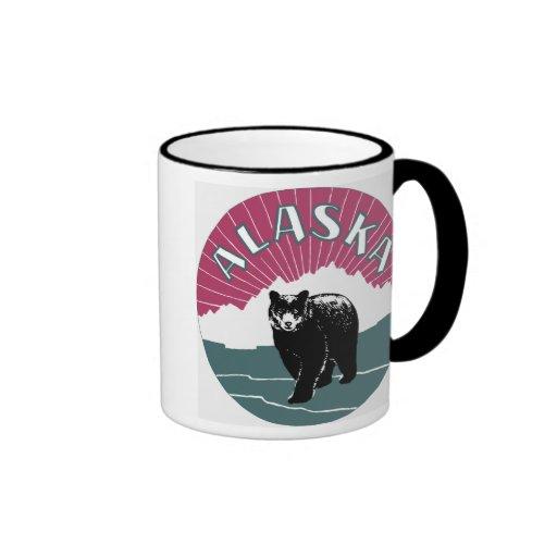 Retro high res. Alaska travel ad black bear Ringer Coffee Mug