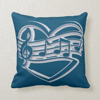 retro hip Music heart  ocean blue throw pillow