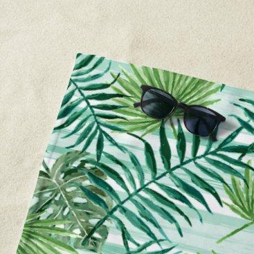 Beach Themed Retro Hip Tropical Green Palm Leafs Pattern Beach Towel