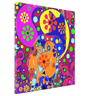 Retro Hippie Cat Flower Power Colorful Stretched Canvas Print