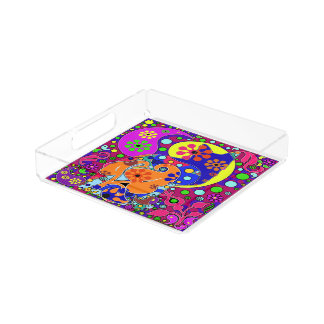 Retro Hippie Cat Flower Power Colorful Tray