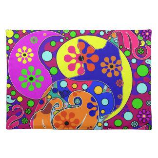 Retro Hippie Cat Flower Power Paisley Pop Art Cloth Placemat
