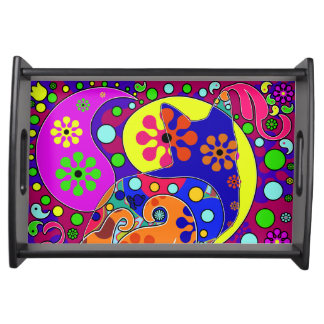 Retro Hippie Cat Flower Power Paisley Pop Art Tray
