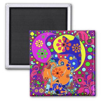 Retro Hippie Cat Flower Power Pop Art Magnet