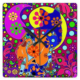Retro Hippie Cat Flower Power Pop Art Wall Clock