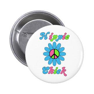 Retro Hippie Chick Peace Flower Pinback Button