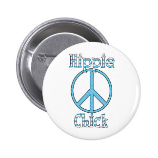 Retro Hippie Chick Polka Dots and Stripes Peace Button
