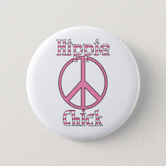 Retro Hippie Chick Polka Dots and Stripes Peace Pinback Button