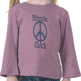 Retro Hippie Chick Polka Dots and Stripes Peace Shirt