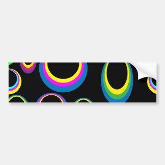 Retro Hippie Colorful Ovals Car Bumper Sticker