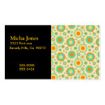 Retro Hippie Dots In Orange, Green, & Tan Business Cards