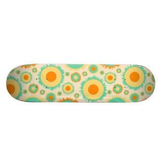 Retro Hippie Dots In Orange, Green, & Tan Skateboard Deck