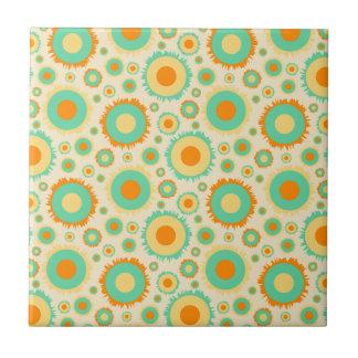 Retro Hippie Dots In Orange, Green, & Tan Small Square Tile