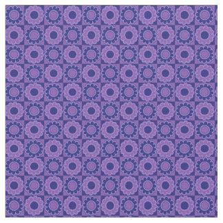 Retro hippie flower power blue purple fabric