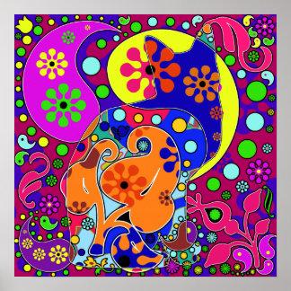 Retro Hippie Flower Power Colorful Cat Poster