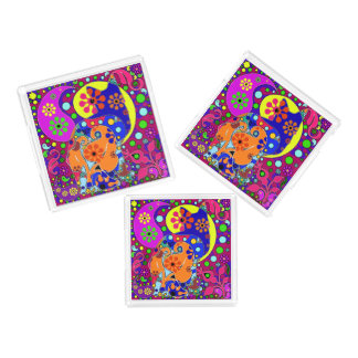 Retro Hippie Flower Power Colorful Pop Art Cats Serving Tray