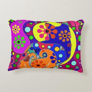 Retro Hippie Flower Power Paisley Cat Pop Art Accent Pillow
