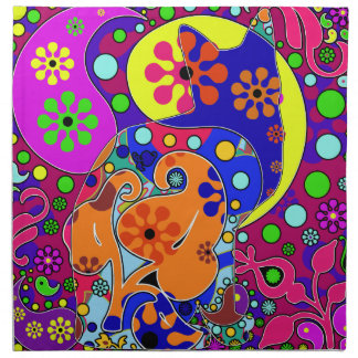 Retro Hippie Flower Power Paisley Cat Pop Art Napkin