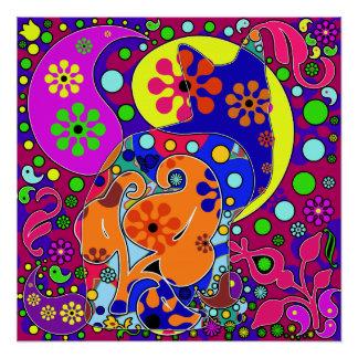 Retro Hippie Flower Power Paisley Cat Pop Art Poster