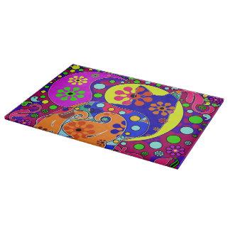 Retro Hippie Flower Power Paisley Pop Art Cat Cutting Board