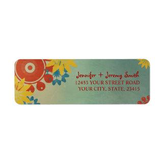 Retro Hippie Flowers Custom Return Address Labels