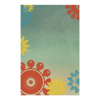 Retro Hippie Flowers Stationery