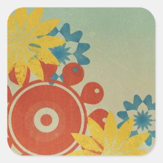 Retro Hippie Flowers Square Stickers