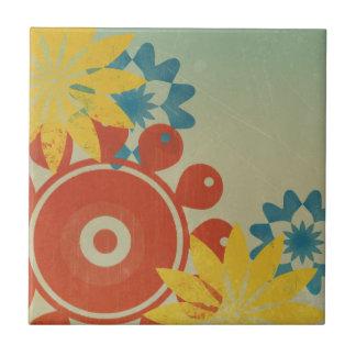 Retro Hippie Flowers Small Square Tile