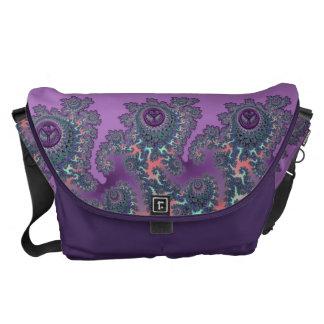 Retro Hippie Peace Fractal Personalized Courier Bags