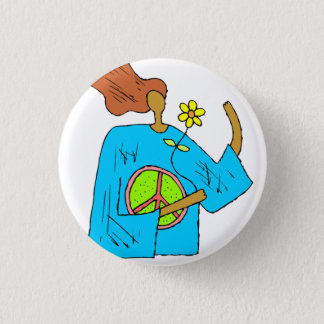 Retro Hippie Peace Girl Flower Button