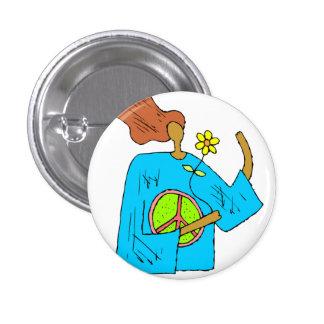 Retro Hippie Peace Girl Flower Button