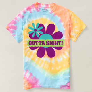 Retro Hippie word art flower tie dyed t-shirt