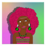 Retro Hippy Psychedelic Disco Diva Pink Afro Girl Poster